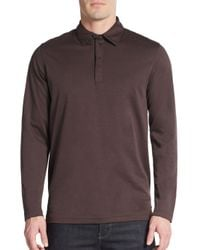 Saks Fifth Avenue | Brown Performance Oxford Polo for Men | Lyst