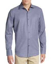 Saks Fifth Avenue - Blue Regular-fit Gingham Cotton Sportshirt for Men - Lyst