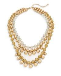 Lydell NYC | Natural Three Row Beaded Statement Necklace/beige | Lyst