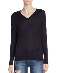 Vince | Blue Silk & Cashmere Double V-neck Sweater | Lyst