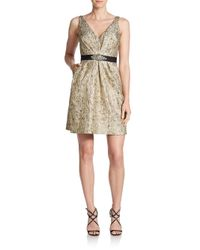 Aidan Mattox - Metallic Jacquard Dress - Lyst