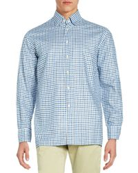 Canali - Blue Checked Dress Shirt for Men - Lyst