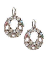 Bavna | Metallic Labradorite, Champagne Diamond, Multicolor Tourmaline & Sterling Silver Round Open Drop Earrings | Lyst