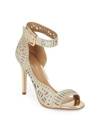 Nicole Miller Artelier | Natural Bali Laser-cut Leather Ankle Cuff Pumps | Lyst