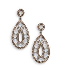 Bavna | Metallic Rainbow Moonstone, Champagne & Grey Diamond Teardrop Earrings | Lyst
