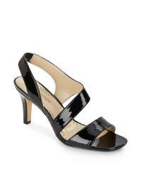 Adrienne Vittadini | Black Giprisity Patent Leather Sandals | Lyst