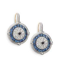 Judith Ripka | Lucky Blue, White & Black Sapphire Evil Eye Earrings | Lyst