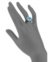 Effy - Blue Topaz, Black Diamond, White Diamond & 14k White Gold Halo Ring - Lyst