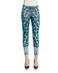 Versus  - Blue Animal-print Stretch Cotton Leggings - Lyst