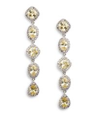 CZ by Kenneth Jay Lane | Yellow Five-stone Drop Earrings | Lyst