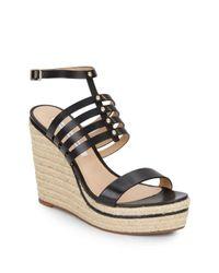 Diane von Furstenberg | Black Gabby Strappy Leather Espadrille Wedge Sandals | Lyst