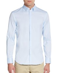 Emporio Armani | Blue Regular-fit Stretch-cotton Sportshirt for Men | Lyst