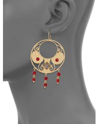 Stephanie Kantis - Antiquity Red Crystal & Smoky Topaz Drop Earrings - Lyst