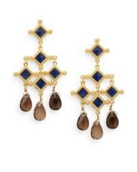Stephanie Kantis | Metallic London Blue Crystal & Smoky Topaz Briolette Venetian Chandelier Earrings | Lyst
