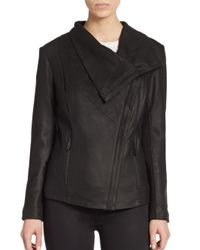 T Tahari | Black Trisha Leather Drape Jacket | Lyst