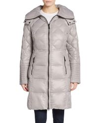 Saks Fifth Avenue | Gray Quilted Down Nylon Puffer | Lyst
