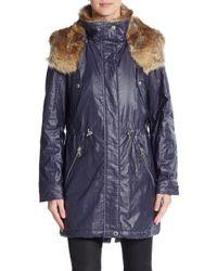 Marc New York | Blue Lauren Faux Fur-trimmed Coated Jacket | Lyst