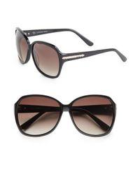 O By Oscar De La Renta | Black 60mm Oversized Sunglasses | Lyst