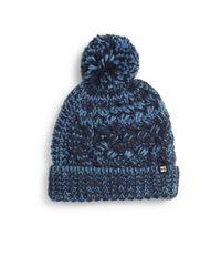 Block Headwear - Blue Chunky Knit Pom-pom Beanie - Lyst