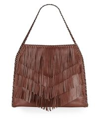 Sondra Roberts - Brown Fringed Faux Leather Hobo - Lyst
