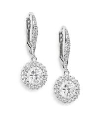 Saks Fifth Avenue - Metallic Round Pavé Halo Drop Earrings - Lyst