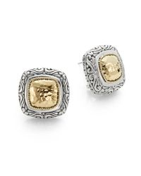 Effy | Metallic 925 18k Yellow Gold & Stering Silver Square Earrings | Lyst
