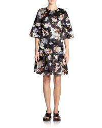 Erdem - Black Logan Floral Silk Dress - Lyst