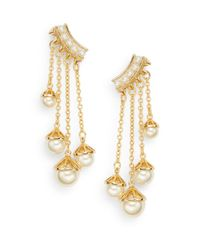 Rebecca Minkoff | Metallic Pearl Affair 12k Goldplated Chain Drop Earrings | Lyst