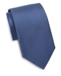 Saks Fifth Avenue - Blue Silk Textured Tie for Men - Lyst