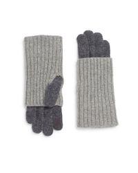Saks Fifth Avenue | Gray Rib-knit Tech Gloves | Lyst