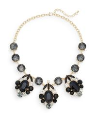 Cara | Black Glitz Three-drop Station Necklace/goldtone | Lyst