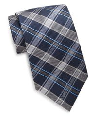 Saks Fifth Avenue | Blue Two-tone Plaid Silk Tie for Men | Lyst