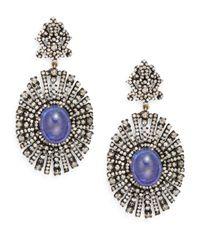 Bavna - Purple Tanzanite, Champagne Diamond & Sterling Silver Drop Earrings - Lyst