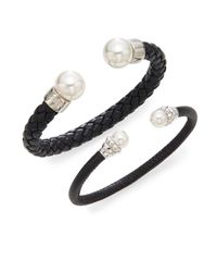 Majorica - Black Ophol 8mm-14mm White Round Pearl & Leather Bangle Bracelet Gift Box Set - Lyst