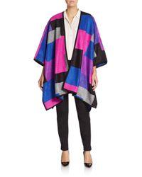 Chaus New York   Black Geometric Poncho Sweater   Lyst