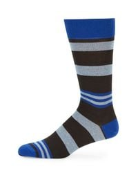 Saks Fifth Avenue - Blue Striped Cotton-blend Socks for Men - Lyst