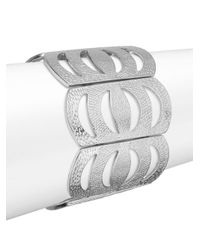 Punch | Metallic Cutout Cuff Bracelet/silvertone | Lyst