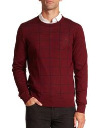 Saks Fifth Avenue   Red Graphic Check Merino Wool Sweater for Men   Lyst