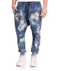 PRPS - Blue Halley Bleached Denim Sweatpants for Men - Lyst