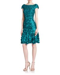 THEIA | Blue Petal-embellished Dress | Lyst