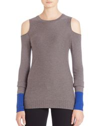 Bailey 44 - Gray Two-tone Cold-shoulder Sweater - Lyst