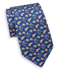 Ferragamo - Blue Elephant Italian Silk Tie for Men - Lyst
