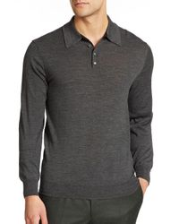 Saks Fifth Avenue - Gray Merino Wool Long-sleeved Polo for Men - Lyst