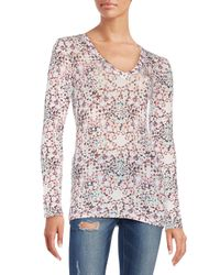 BCBGMAXAZRIA | Multicolor Jan Printed V-neck Top | Lyst