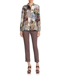 Etro - Brown Cady Diamond-pattern Stretch Wool Cropped Pants - Lyst