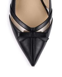 Michael Kors - Black Joey Leather & Vinyl Bow Flats - Lyst