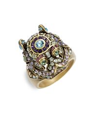 Heidi Daus - Metallic Black Diamond Tanzanite Aquamarine Eremite Ring - Lyst