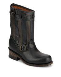 Frye | Black Women's Engineer Buckle-trim Leather Boots | Lyst
