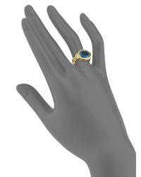 Ron Hami - Metallic London Blue Topaz, Diamond & 18k Yellow Gold Cocktail Ring - Lyst