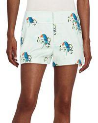 Alice + Olivia | Blue Cady Stretch-cotton Shorts | Lyst